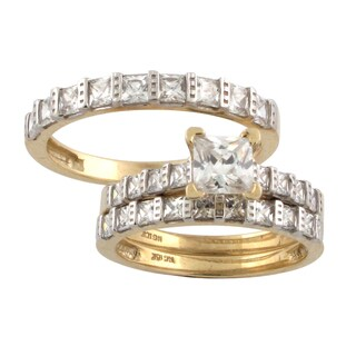 10k Gold Princess-cut Cubic Zirconia Matching His and Hers Bridal-style Ring Set