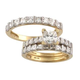 10k gold princess cut cubic zirconia matching his and hers bridal style ring set - Wedding Rings Sets For His And Her