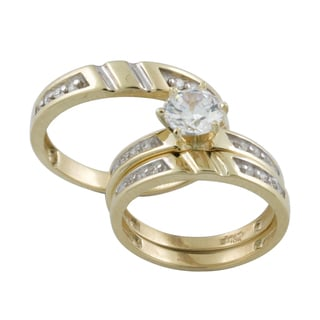 10k Gold Prong Set Cubic Zirconia Matching His And Hers Bridal Style Ring Set