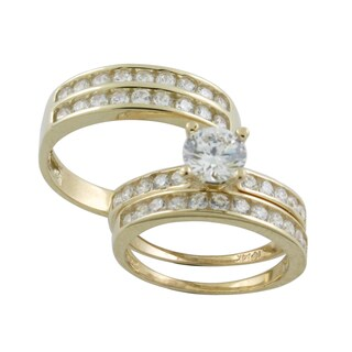 10k Gold Round-cut Cubic Zirconia His and Hers Bridal-style Ring Set