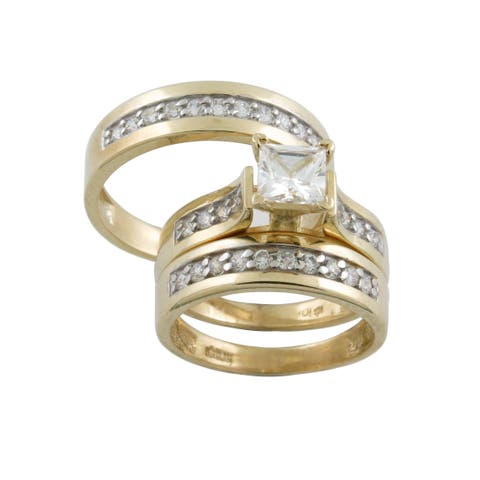 10k Gold Cubic Zirconia Matching His and Hers Ring Set