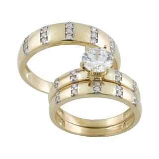 10k Gold Cubic Zirconia Matching His and Hers Bridal-style Ring Set