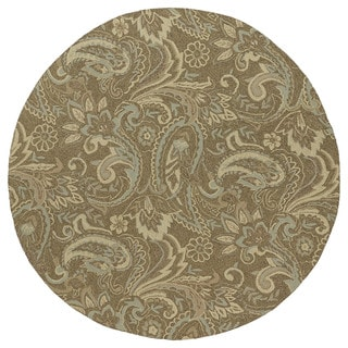 Indoor/Outdoor Fiesta Brown Paisley Rug (7'9 Round)