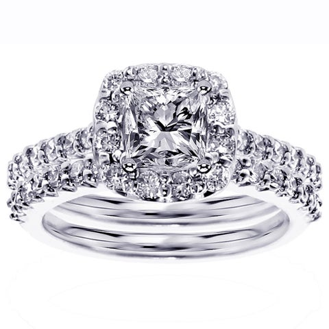 White Gold 2 1/10ct TDW Halo Diamond Engagement Bridal Ring Set