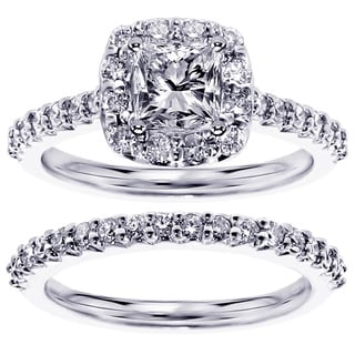 Platinum or Gold 2 1/10ct TDW Clarity-enhanced Diamond Bridal Ring Set (G-H, SI1-SI2)