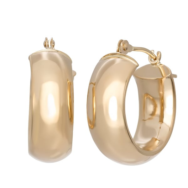 gioelli 14k yellow gold wide hoop earrings