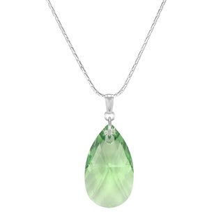 Jewelry by Dawn Large Peridot Green Crystal Pear Sterling Silver Necklace