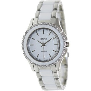 DKNY Women's NY8818 'Chambers' Crystal Two Tone Ceramic Watch|https://ak1.ostkcdn.com/images/products/8389852/P15692640.jpg?_ostk_perf_=percv&impolicy=medium