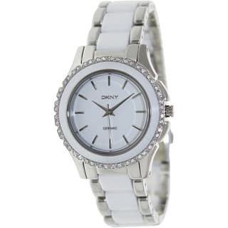 DKNY Women's NY8818 'Chambers' Crystal Two Tone Ceramic Watch|https://ak1.ostkcdn.com/images/products/8389852/P15692640.jpg?impolicy=medium