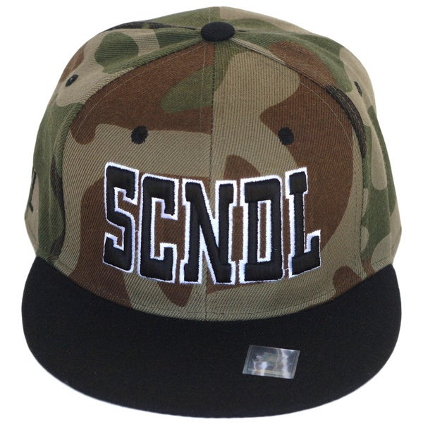CYL Apparel Camo and Black 'SCNDL' Snap-back Hat