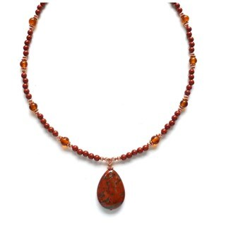 Every Morning Design Red Jasper Drop On Red Jasper and Copper Necklace