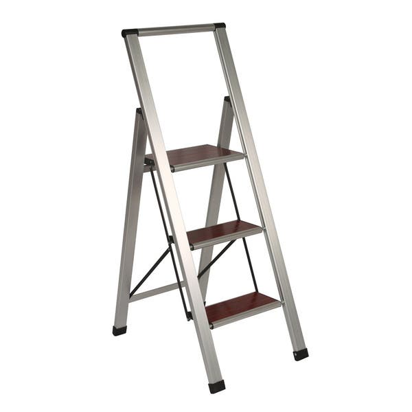Outstanding Richards Homewares 3 Step Brushed Aluminum Wood Step Ladder Pabps2019 Chair Design Images Pabps2019Com