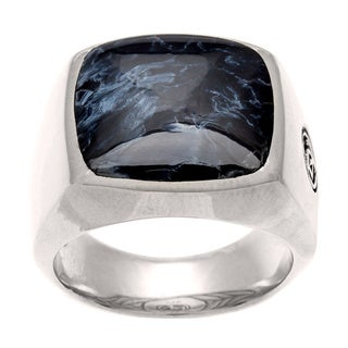 Pre-owned David Yurman Men's Sterling Silver Pietersite Signet Ring