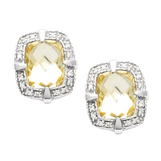 Pre-owned Charriol Sterling Silver Lime Citrine and 1/6ct TDW Diamond Earrings (G, VS)
