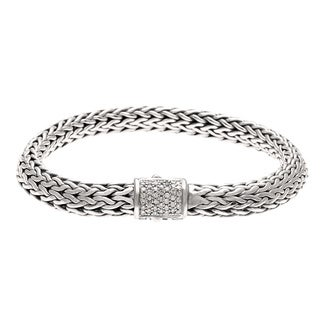 Pre-owned John Hardy Sterling Silver 1/5ct TDW Diamond Bracelet (H, SI1-SI2)