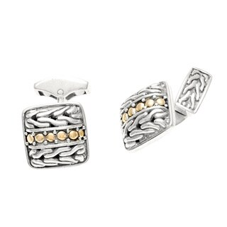 Pre-owned John Hardy Silver and 18k Yellow Gold Estate Cuff Links