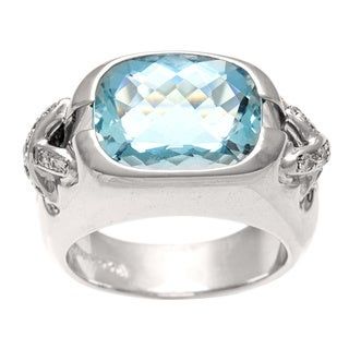 Pre-owned Tiffany & Co. 18k Gold Aquamarine and 1/5ct TDW Diamond Estate Ring (D-F, VS) (Size 5)