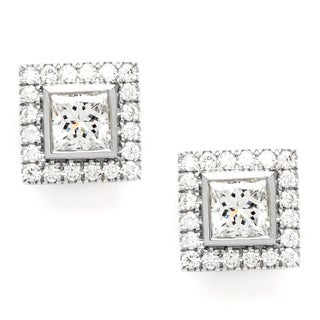 Pre-owned Tiffany & Co. Platinum Diamond Square Studs