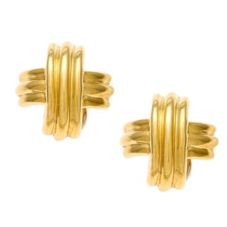 Pre-owned Tiffany & Co. 18-karat Yellow Gold X-shaped Earrings