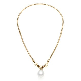 Pre-owned Tiffany & Co. 18k Yellow Gold FW Pearl Estate Necklace (14 mm)