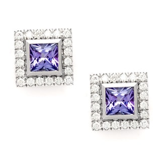 Pre-owned Tiffany & Co. Platinum Amethyst and Diamond Square Earrings