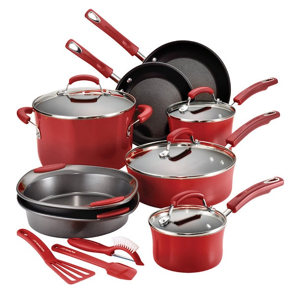Rachael Ray Hard Enamel 15-piece Red Cookware Set