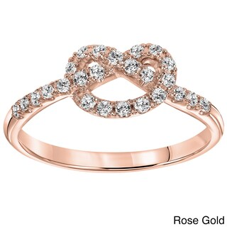 Cambridge 10k Gold 1/4ct TDW Diamond Infinity Knot Ring (More options available)
