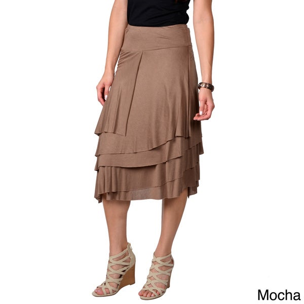 Journee Collection Women's  Mid-length Tiered Skirt