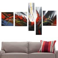 'Abstract Dark Colors' Hand Painted Canvas Art (5 piece)
