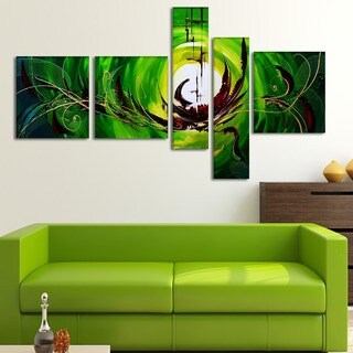 'Green Machine' Hand Painted Canvas Art (5 Piece)