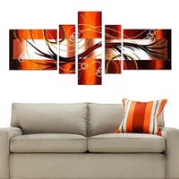 Orange and Brown Hand Painted Canvas Art (5 Piece)