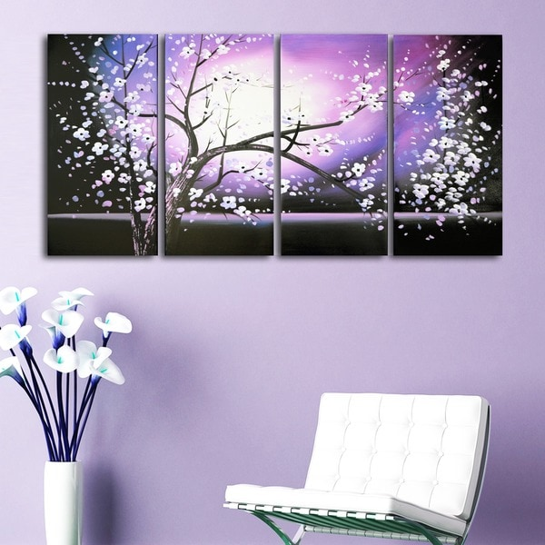 'Purple Abstract Flowers Art' Hand Painted Canvas Art (4 Piece)