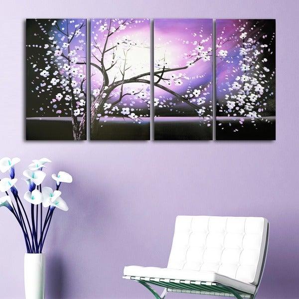Purple Canvas Rug: Shop 'Purple Abstract Flowers Art' Hand Painted Canvas Art