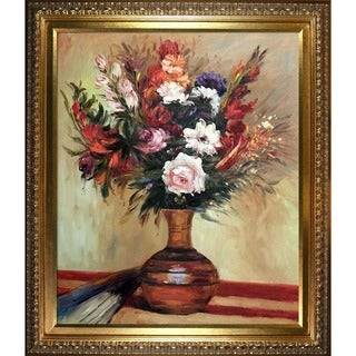Pierre-Auguste Renoir 'Rose in a Vase' Hand Painted Framed Canvas Art