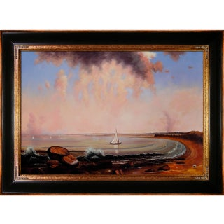 Martin Johnson 'Heade Shore Scene Point Judith' Hand Painted Framed Canvas Art