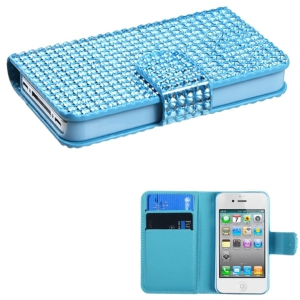 INSTEN Light Blue Book-style Phone Case Cover for Apple iPhone 4/ 4S