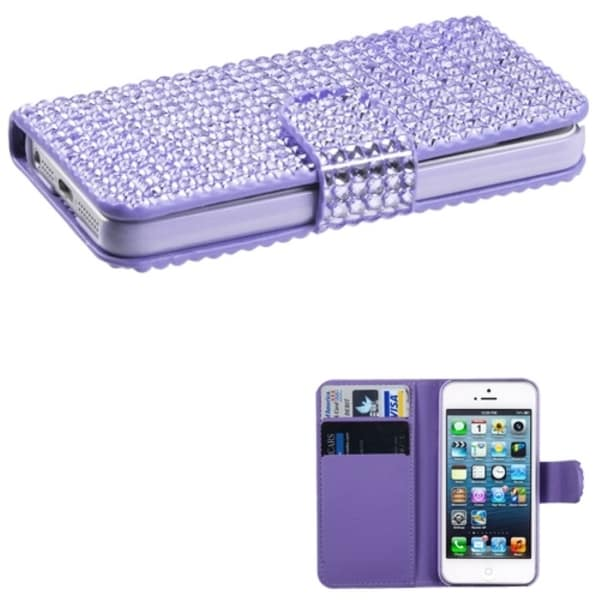 INSTEN Purple Book-style Wallet Phone Case Cover for Apple iPhone 5