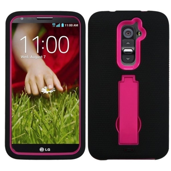 INSTEN Hot Pink/ Black Phone Case Cover with Stand for LG D801 Optimus G2/ D800 G2