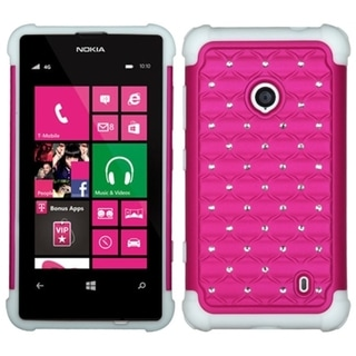 INSTEN Hot Pink/ White TotalDefense Phone Case Cover for Nokia Lumia 520/ 521
