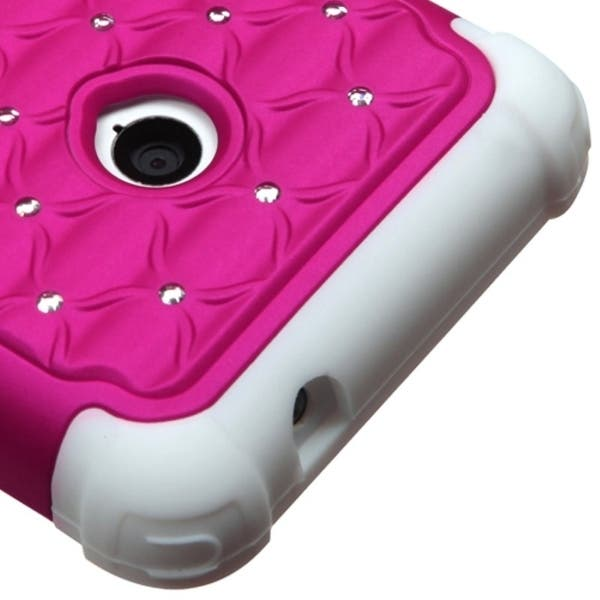 Shop INSTEN Hot Pink/ White TotalDefense Phone Case Cover for Nokia