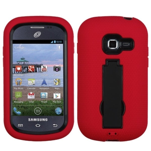 INSTEN Black/ Red Phone Case Cover with Stand for Samsung S738C Galaxy Centura