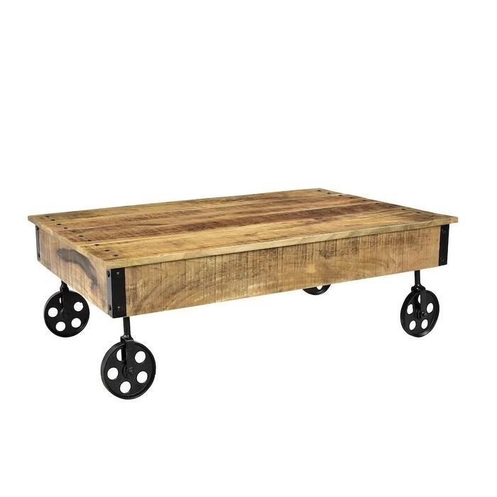 Timbergirl Reclaimed Wood Industrial Cart Wheels Coffee Table (India) - Handmade] Timbergirl Reclaimed Wood Industrial Cart Wheels Coffee