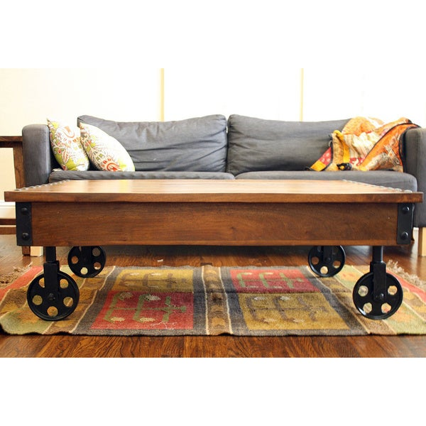 Timbergirl Reclaimed Wood Industrial Cart Wheels Coffee Table India
