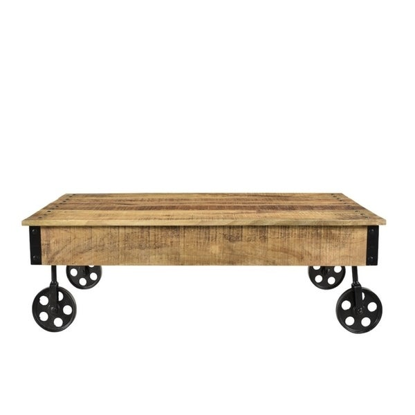 Timbergirl Reclaimed Wood Industrial Cart Wheels Coffee Table (India)    Free Shipping Today   Overstock.com   15693302