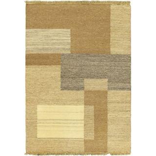 Hand-made Natural Khaki Wool Kilim Rug (4'5x6'5)