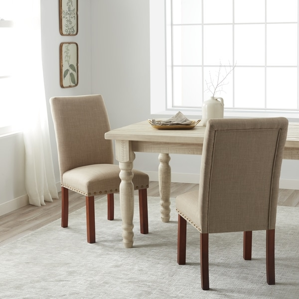 Captivating HomePop Linen Tan Nail Head Parsons Chairs (Set Of 2)   Free Shipping Today    Overstock.com   15695581