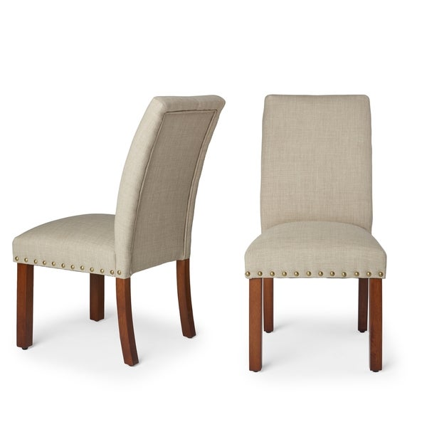 HomePop Linen Tan Nail Head Parsons Chairs (Set of 2)
