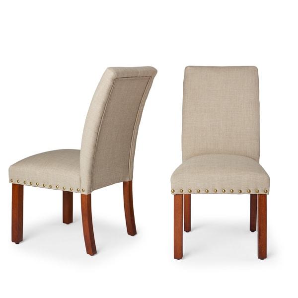 HomePop Linen Tan Nail Head Parsons Chairs (Set of 2)