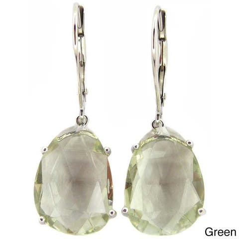Kabella Luxe 14k White Gold Faceted Gemstone Slice Leverback Earrings