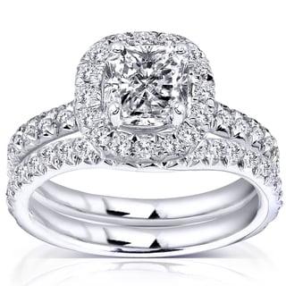 Annello by Kobelli 14k White Gold 1 3/4ct TDW Diamond Bridal Set